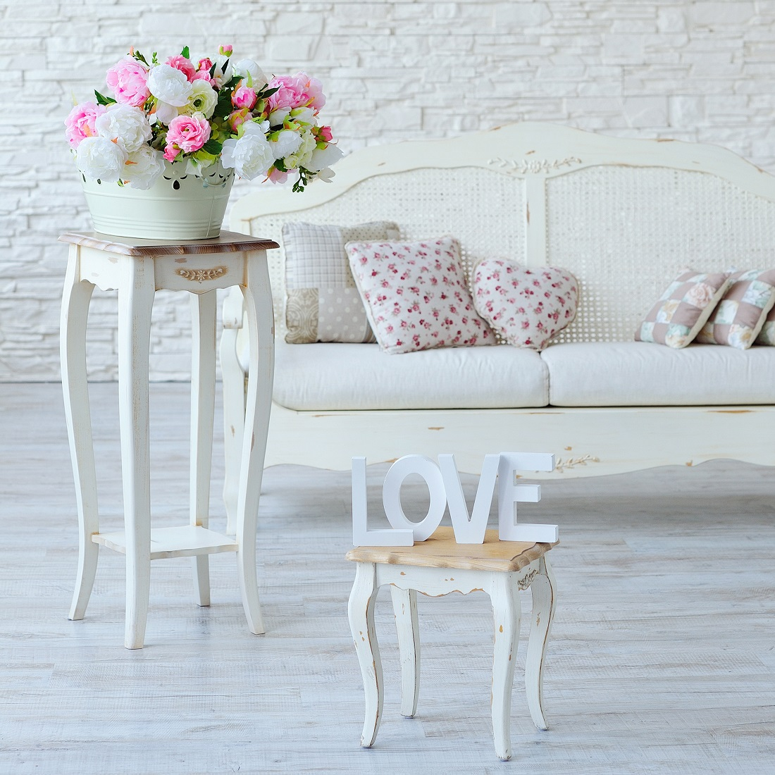 Interior with vintage furniture elements, love letters and decorative flowers